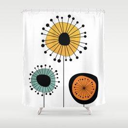 Mid-Century Modern Flowers 1 Shower Curtain