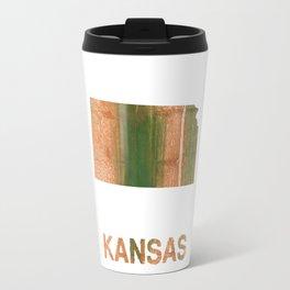 Kansas map outline Peru green streaked wash drawing illustration Travel Mug