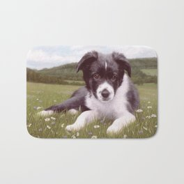 Border Collie Puppy Painting Bath Mat