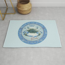 Retro Vintage Advertising Inspired Seafood Ad for Blue Crabs Rug