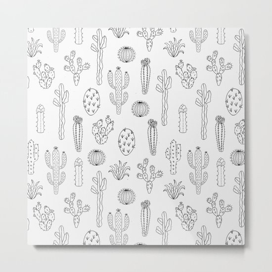 Cactus Silhouette Black Metal Print