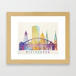 Pittsburgh landmarks watercolor poster Framed Art Print