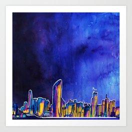Brisbane City Skyline Print Art Print