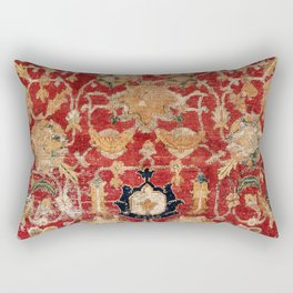 Indo Esfahan Central Persian Rug Fragment Print Rectangular Pillow