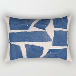 Watercolor collage, Paper Collage, Blue and Beige Rectangular Pillow