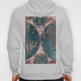 Antique World Map Pink Quartz Teal Blue by Nature Magick Hoody