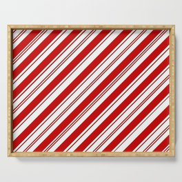 winter holiday xmas red white striped peppermint candy cane Serving Tray