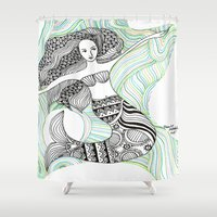 mermaids Shower Curtains featuring Mermaids by winnie patterson