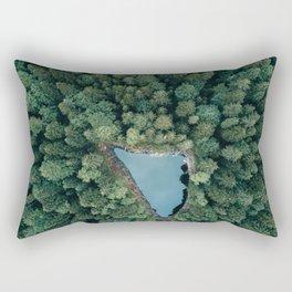 Hidden Lake in a Forest - Landscape Photography Rectangular Pillow