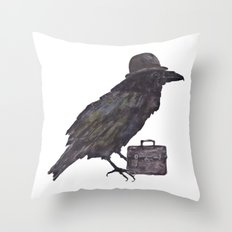 Raven, goth, goth art, business man raven, office decor, gift for boss like no other Throw Pillow