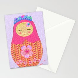 Matryoshka матрёшка Pink Russian Nesting Doll Print Stationery Cards