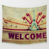 welcome Wall Tapestries featuring Welcome  by Honey Malek