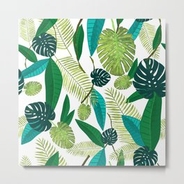 Tropical Green Leaves Metal Print