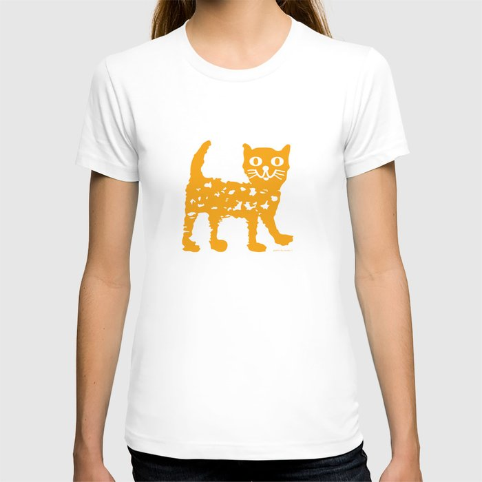 Orange cat illustration, cat pattern T-shirt