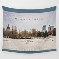 minneapolis Wall Tapestries featuring Minneapolis by Kimberley Britt