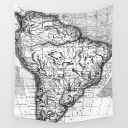Vintage Map of South America (1780) BW Wall Tapestry