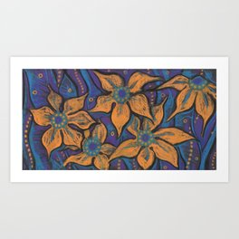 Golden flowers, decorative painting, pastel, floral motive Art Print