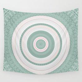 Bohemian Mint Green and Pink Texture Mandala Wall Tapestry
