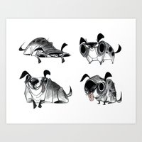 pugs Art Prints featuring Pugs by Betsy Bauer