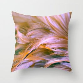 Beautiful Bird and chicken feather texture abstract background soft focus Throw Pillow