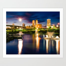 Tulsa Skyline Over Centennial Park Lake At Twilight Art Print