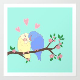 Love birds Valentine's day art Art Print
