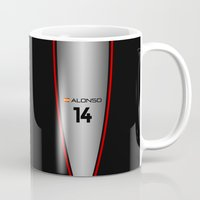f1 Mugs featuring F1 2015 - #14 Alonso by MS80 Design