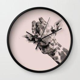 Little giraffe in pink Wall Clock