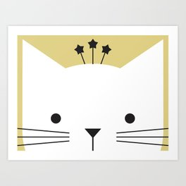 Peek-a-Boo Kitty with Star Crown — Black, White and Gold Art Print