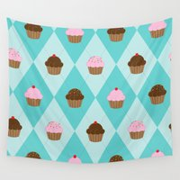 cupcakes Wall Tapestries featuring Argyle Cupcakes by Rascal Thither