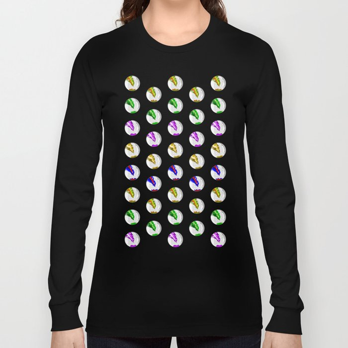 Marbles on Wood Pattern Long Sleeve T-shirt