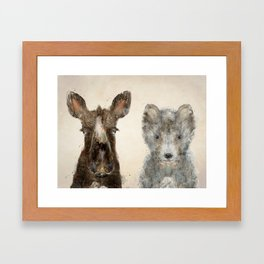 The Little Wolf And Moose Framed Art Print