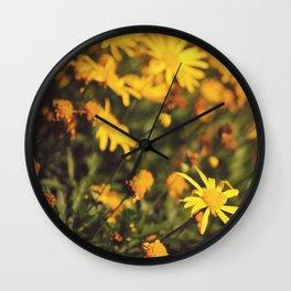 Sigue el camino de margaritas amarillas Wall Clock