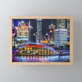 Pudong District Night Scene, Shanghai, China Framed Mini Art Print