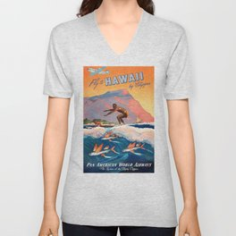 1947 Fly To Hawaii By Clipper Pan American Travel Poster Unisex V-Neck