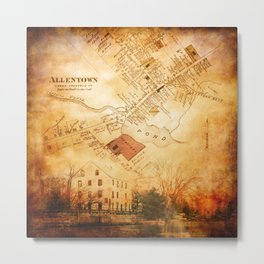 Allentown, New Jersey Map and Mill by Ericka O'Rourke Metal Print