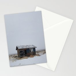 Hopeless, Abandoned, and Alone Under Grey Snow Filled Sky Stationery Cards