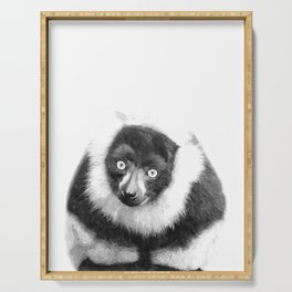 Black and white lemur animal portrait Serving Tray