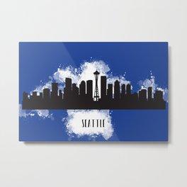 Seattle skyline silhouette Metal Print