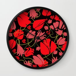 red wildflowers pattern on black background Wall Clock