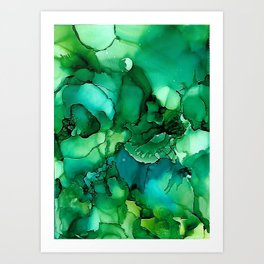 Into the Depths of Sea Green Mysteries Art Print