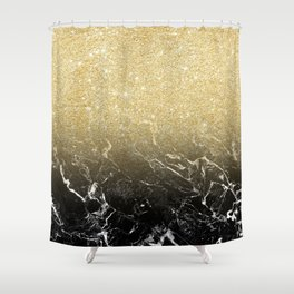 Modern girly luxurious faux gold glitter black marble pattern Shower Curtain
