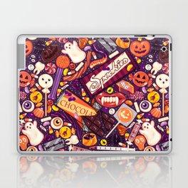 Creepy Halloween Candy on Purple Laptop & iPad Skin