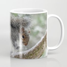 Gray Squirrel Curling Its Tail in a Snowstorm Coffee Mug