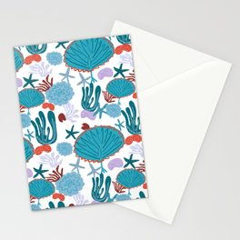 Cute Vibrant Coral Cluster Pattern in Blue Stationery Cards