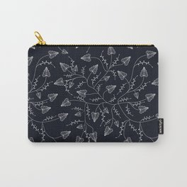 Delicate leaves on a black background . Carry-All Pouch