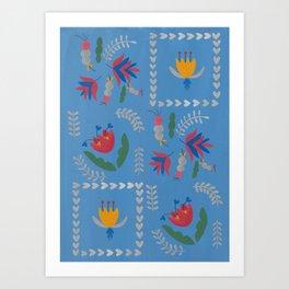 Heart of Silver – Blue Bell – Scandinavian Folk Art Art Print