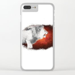 Snarling White Lion Clear iPhone Case