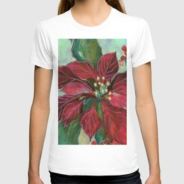 poinsettia wax batik T-shirt