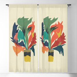 Potted staghorn fern plant Blackout Curtain